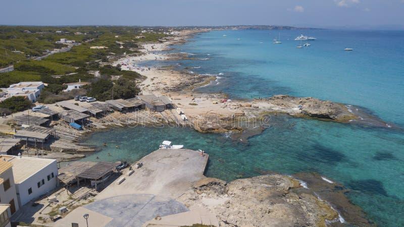 卡拉市ES calo在福门特拉岛海岛巴利阿 库存图片