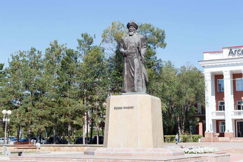 卡拉干达,哈萨克斯坦- 2016年9月1日:纪念碑Buhar Zhyrau 免版税库存照片