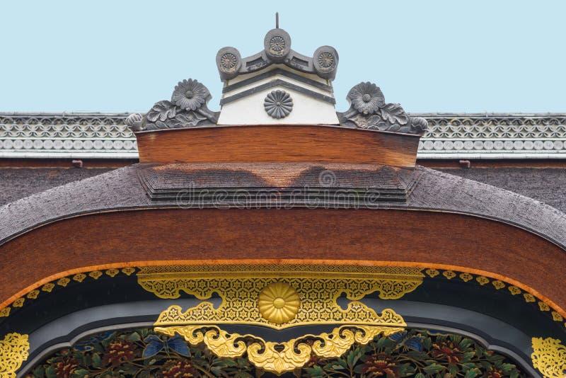 卡拉星期一门冠在Nijo城堡的 免版税库存照片