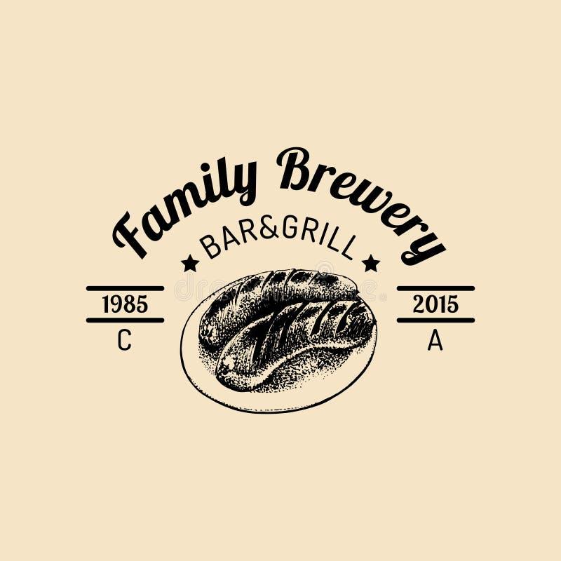 卡拉服特啤酒商标 老啤酒厂象 手速写了法兰克福香肠的例证 传染媒介葡萄酒强麦酒标签或徽章 向量例证