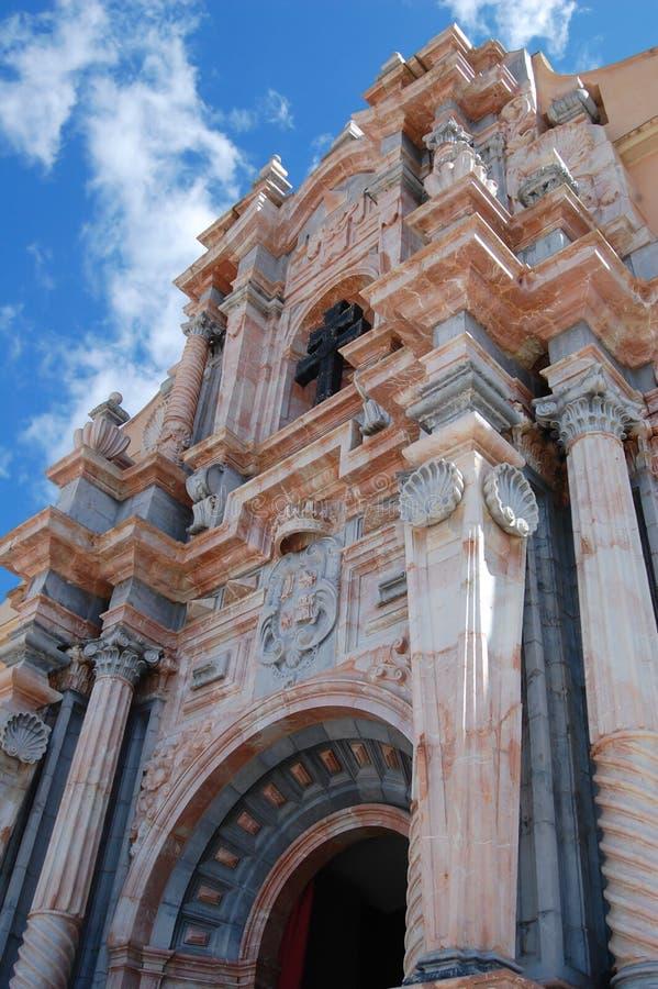 卡拉瓦卡德拉克鲁斯教会的门面  免版税库存图片