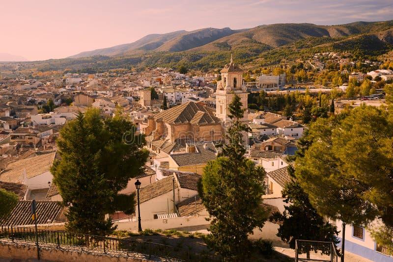 卡拉瓦卡,西班牙- 2017年11月17日:卡拉瓦卡德拉克鲁斯,在穆尔西亚附近的朝圣站点全景,在西班牙 免版税库存图片