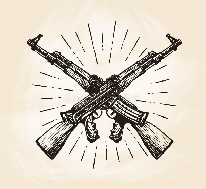 卡拉什尼科夫,剪影手拉的横渡的自动机器  武器传染媒介例证 向量例证