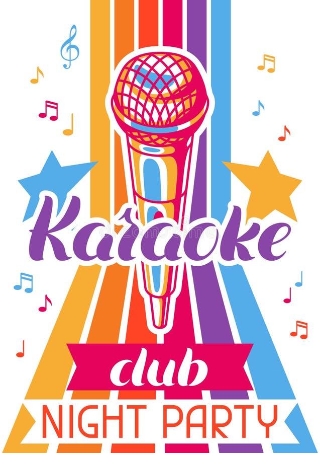 卡拉OK演唱俱乐部海报 音乐事件横幅 与话筒的例证在减速火箭的样式 库存例证