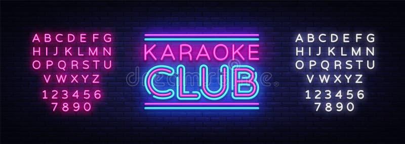 卡拉OK演唱俱乐部霓虹灯广告传染媒介 卡拉OK演唱设计模板霓虹灯广告,轻的横幅,霓虹牌,每夜明亮 皇族释放例证