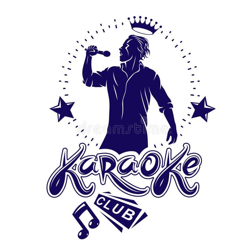 卡拉OK演唱俱乐部飞行物使用音符、星和独奏者被创造的传染媒介封面设计唱歌对话筒 主持人展示 向量例证