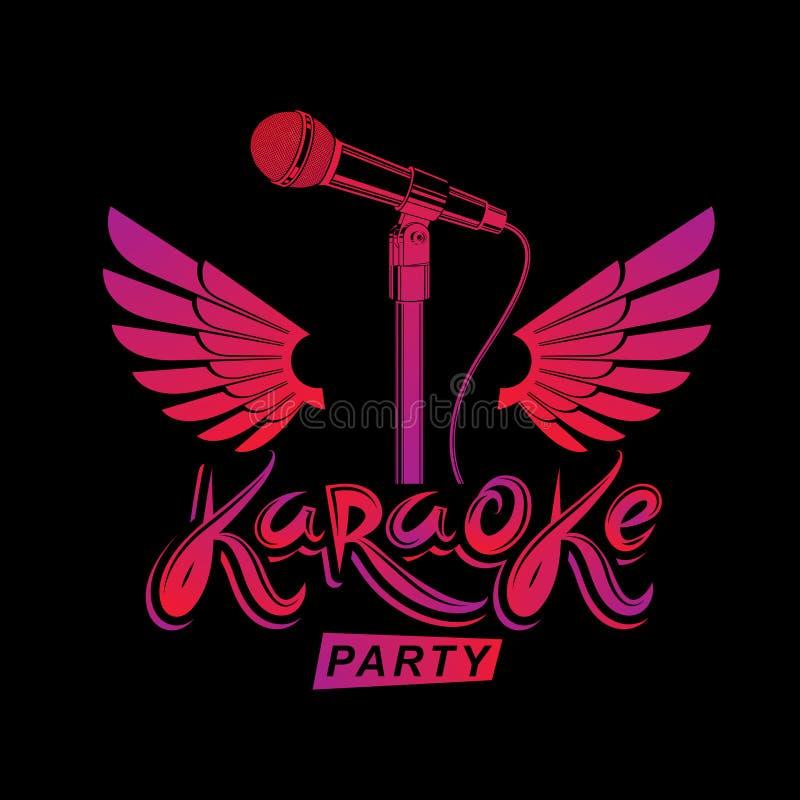 卡拉OK演唱党广告海报、实况音乐传染媒介使用阶段话筒组成的音乐会传单和翼 感觉自己喜欢 向量例证