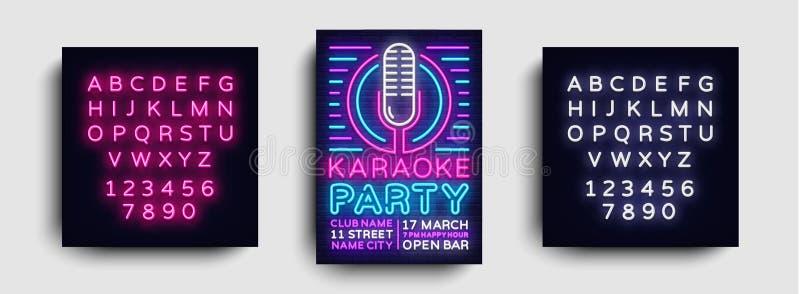 卡拉OK演唱党海报氖传染媒介 卡拉OK演唱夜设计模板,明亮的霓虹小册子,现代趋向设计,轻的横幅 向量例证