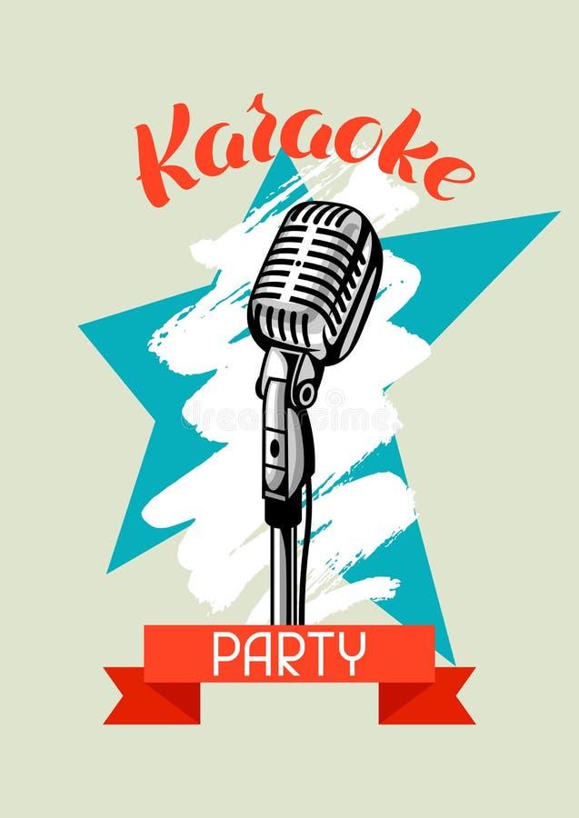 卡拉OK演唱党海报 音乐事件横幅 与话筒的例证在减速火箭的样式 库存例证