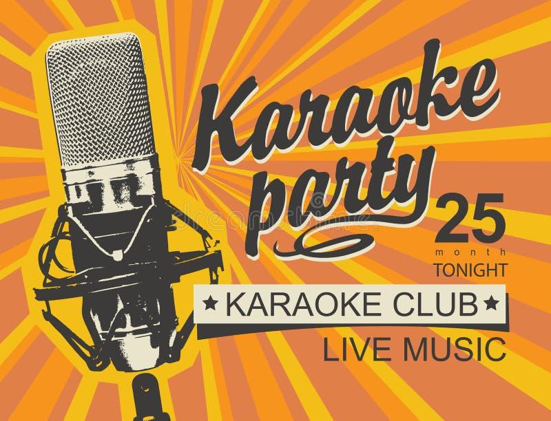 卡拉OK演唱党的音乐横幅与话筒 库存例证
