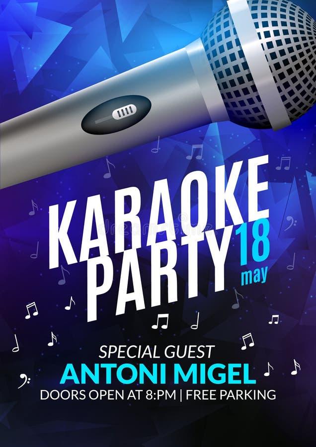 卡拉OK演唱党邀请海报设计模板 卡拉OK演唱夜飞行物设计 音乐声音音乐会 向量例证