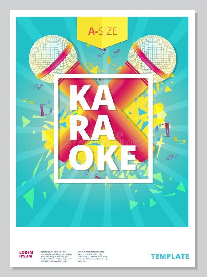 卡拉OK演唱党飞行物或海报模板设计 甚而传染媒介音乐 向量例证