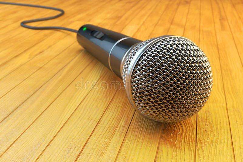 卡拉OK演唱党,演说和观众通信概念 免版税库存图片