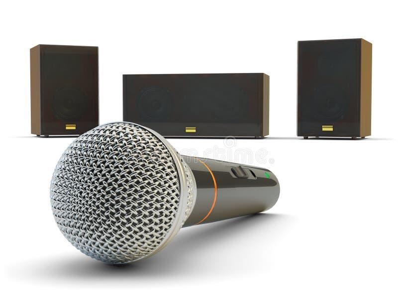 卡拉OK演唱和演说设备 免版税库存照片