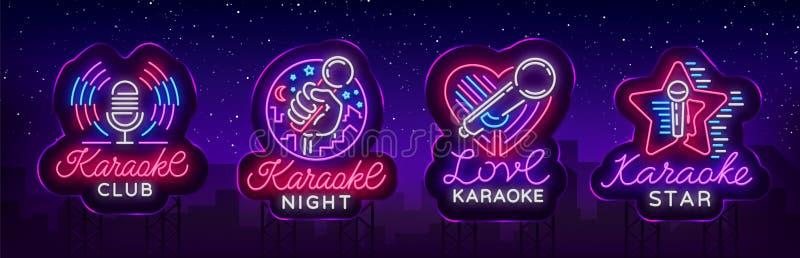 卡拉OK演唱套霓虹灯广告 汇集是一个轻的商标,标志,一副轻的横幅 给明亮的夜卡拉OK演唱酒吧做广告 皇族释放例证