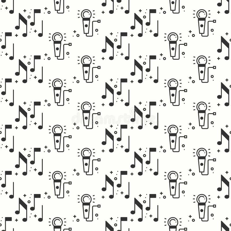卡拉OK演唱无缝的样式 话筒和笔记象 党庆祝装饰元素 也corel凹道例证向量 背景 皇族释放例证
