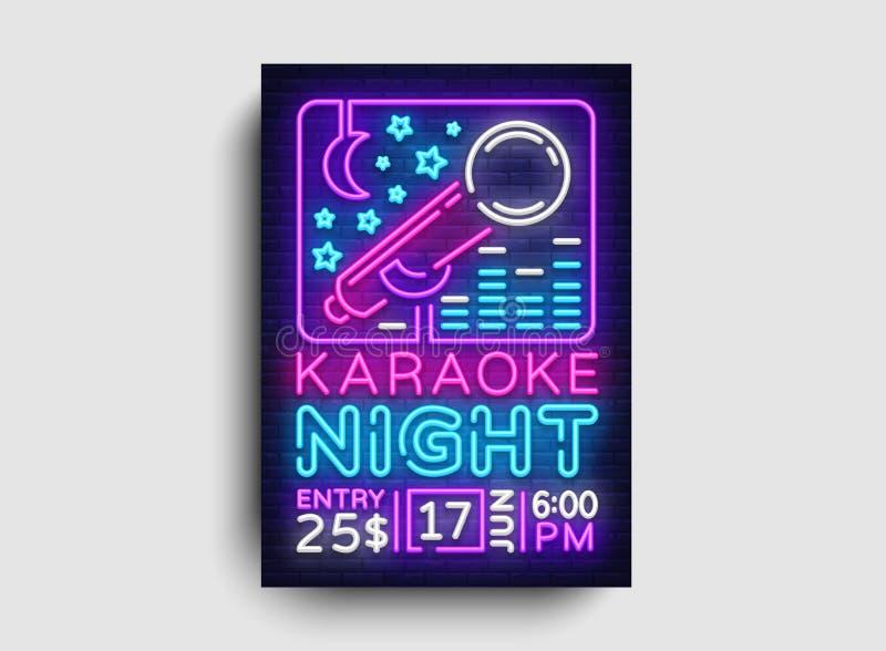 卡拉OK演唱设计海报传染媒介 卡拉OK演唱党设计模板飞行物,霓虹样式,卡拉OK演唱夜小册子,霓虹横幅 皇族释放例证