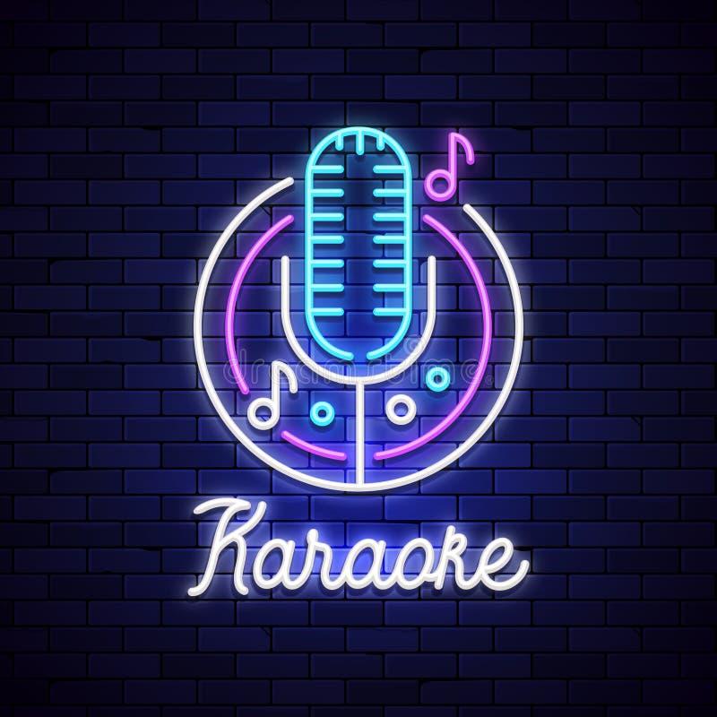 卡拉OK演唱霓虹夜酒吧 Mocrophone卡拉OK演唱商标标志迪斯科音乐,霓虹灯减速火箭的俱乐部标志 皇族释放例证