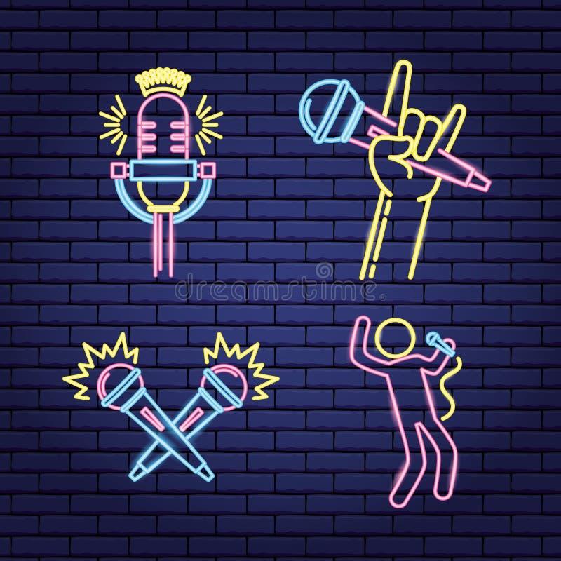 卡拉OK演唱霓虹样式 皇族释放例证