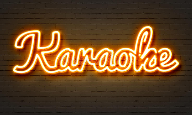卡拉OK演唱霓虹灯广告 库存例证