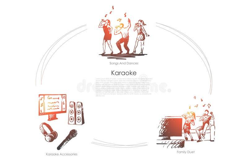 卡拉OK演唱-歌曲和舞蹈,家庭二重奏,卡拉OK演唱辅助部件导航概念集合 库存例证