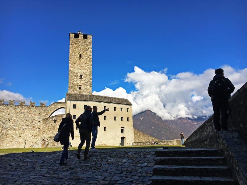 卡斯泰尔格兰德城堡或城镇卡斯泰尔格兰德贝林佐纳城堡  免版税库存照片