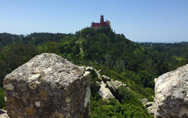 卡斯特鲁dos的Mouros停泊城堡 库存图片