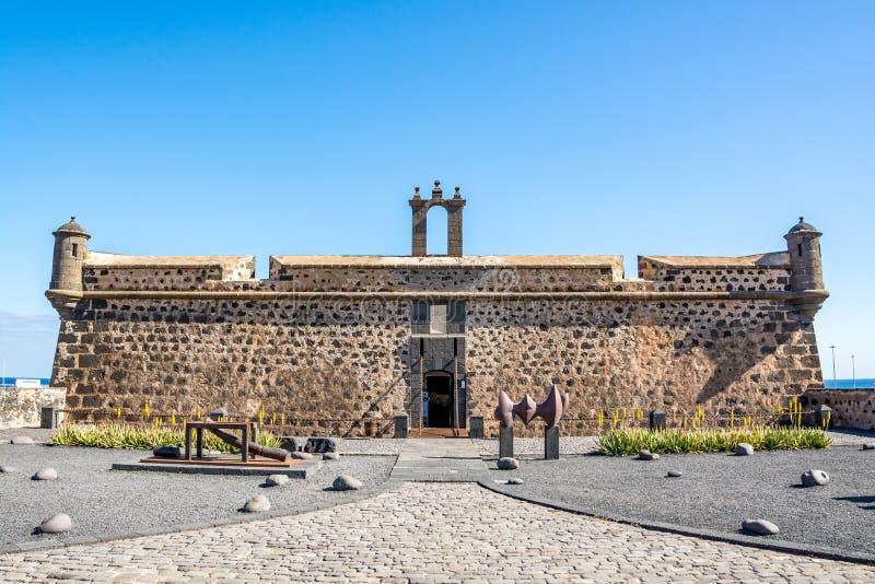 卡斯蒂略de圣何塞,圣何塞,阿雷西费,兰萨罗特岛,西班牙城堡  免版税库存图片