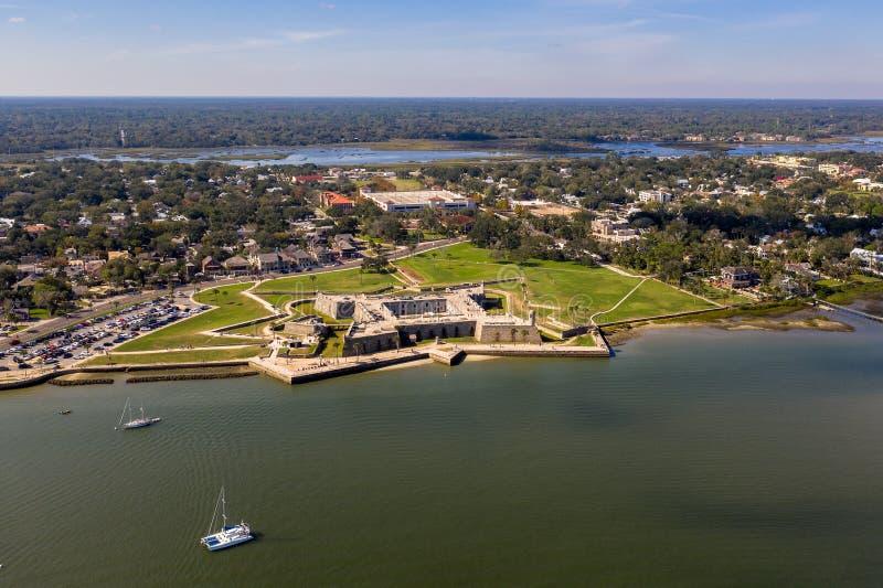 卡斯蒂略de圣马科斯国家历史文物鸟瞰图在圣奥斯丁,佛罗里达 库存照片