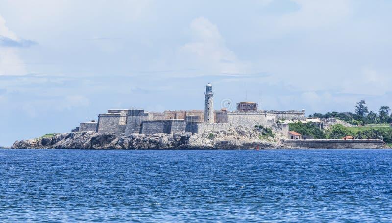 卡斯蒂略de los Tres雷耶斯del Morro是古巴人的哈瓦那一个堡垒 免版税库存图片