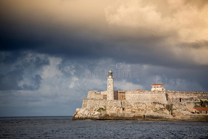 卡斯蒂略de Los Tres雷耶斯del Morro,哈瓦那 免版税库存图片