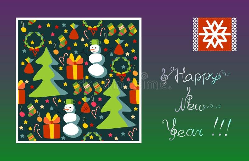 贺卡新年快乐!雪花,雪人,圣诞树,礼物,星 向量例证