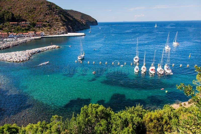 卡普拉亚岛海岛, Arcipelago Toscano国家公园,托斯卡纳,意大利 免版税库存图片