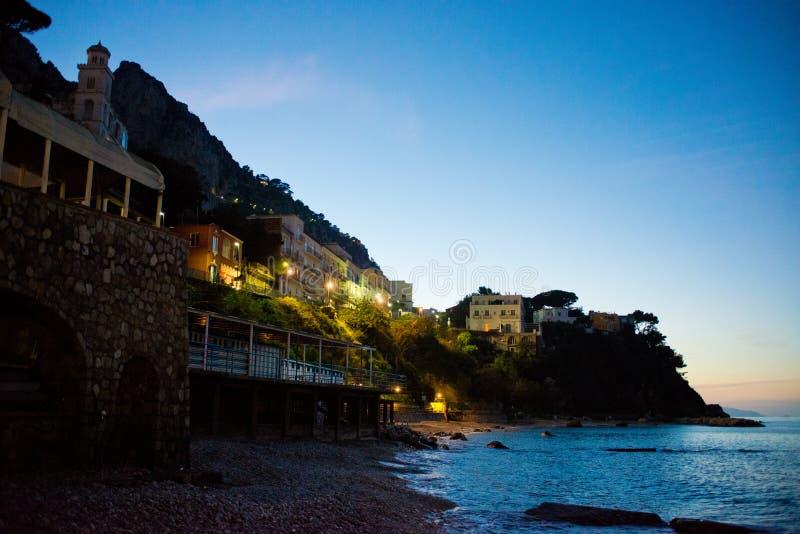 卡普里岛在晚上 免版税库存照片