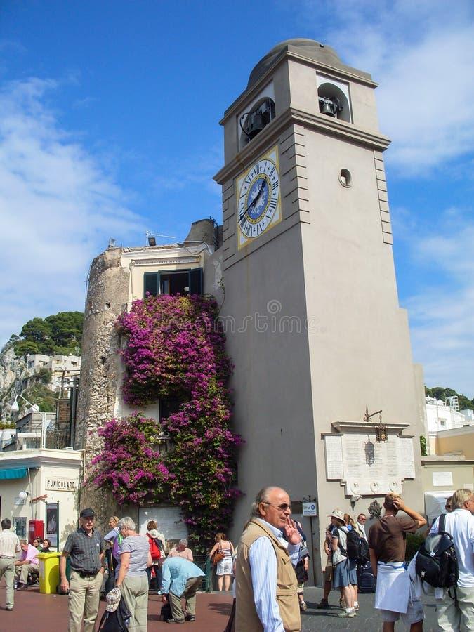 卡普里岛Clocktower 免版税库存照片