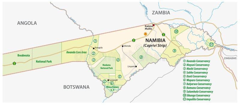 卡普里维小条的国家公园和管理地图在北部的在纳米比亚东部 库存例证