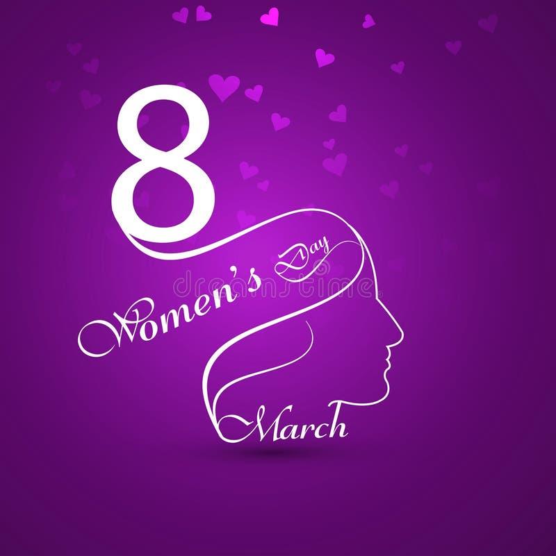 贺卡有文本3月8日愉快的妇女的天背景c 库存例证