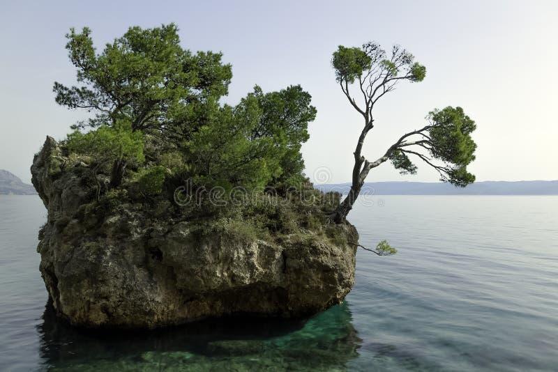 卡梅尼火山Brela -小著名海岛在Brela,马卡尔斯卡里维埃拉,达尔马提亚,克罗地亚 库存图片