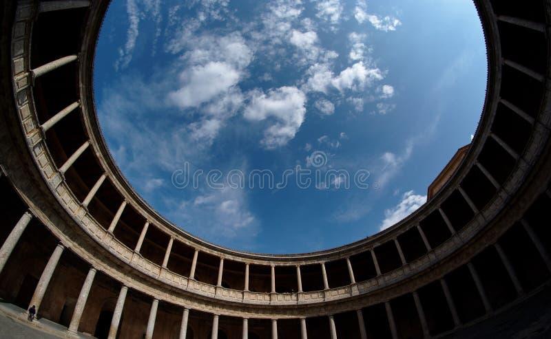 卡洛斯庭院de格拉纳达palacio西班牙v 免版税库存图片