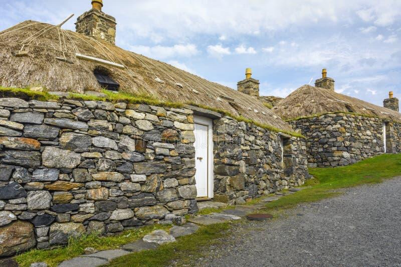 卡洛维,英国- 8月17:Gearrannan Blackhouse哈里斯和刘易斯海岛的,埃利安锡尔,苏格兰村庄博物馆 免版税库存照片