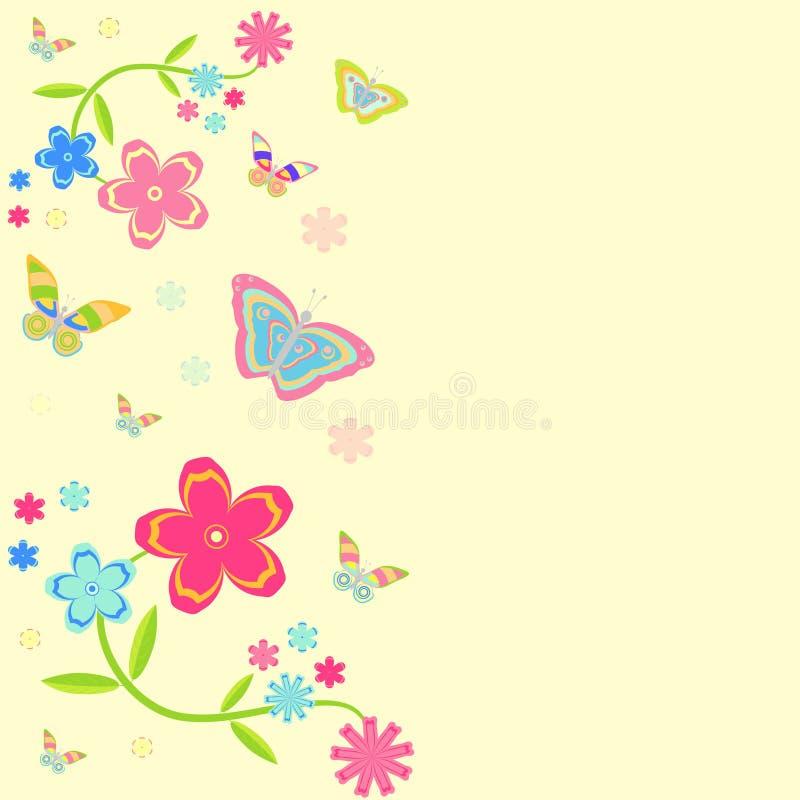卡片。与花和蝴蝶的背景 向量例证