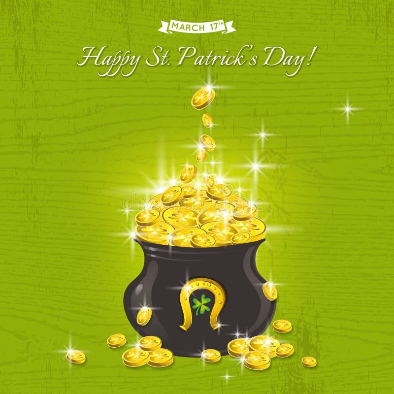 卡片为与文本和罐的圣Patricks天有金黄硬币的 皇族释放例证