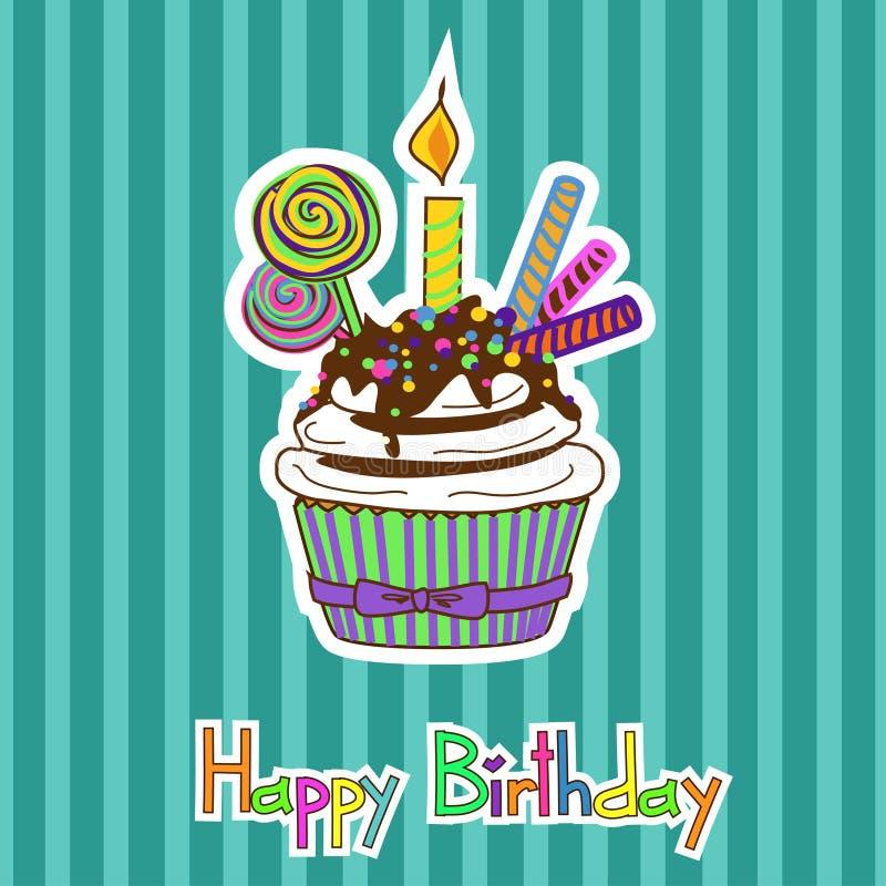 卡片为生日用杯形蛋糕 库存例证