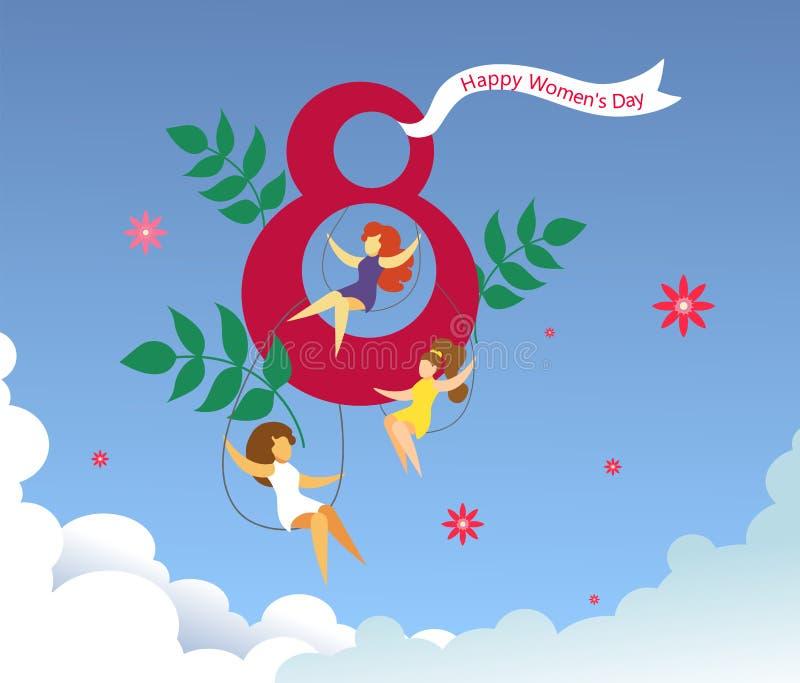"""卡片为3月8日妇女的天 与乘坐在与花、叶子和""""8""""字形的摇摆的女孩的独特和欢乐背景  向量例证"""
