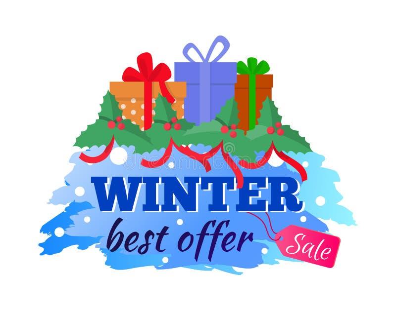 卡片冬天销售和最佳的提议当前礼物传染媒介 向量例证
