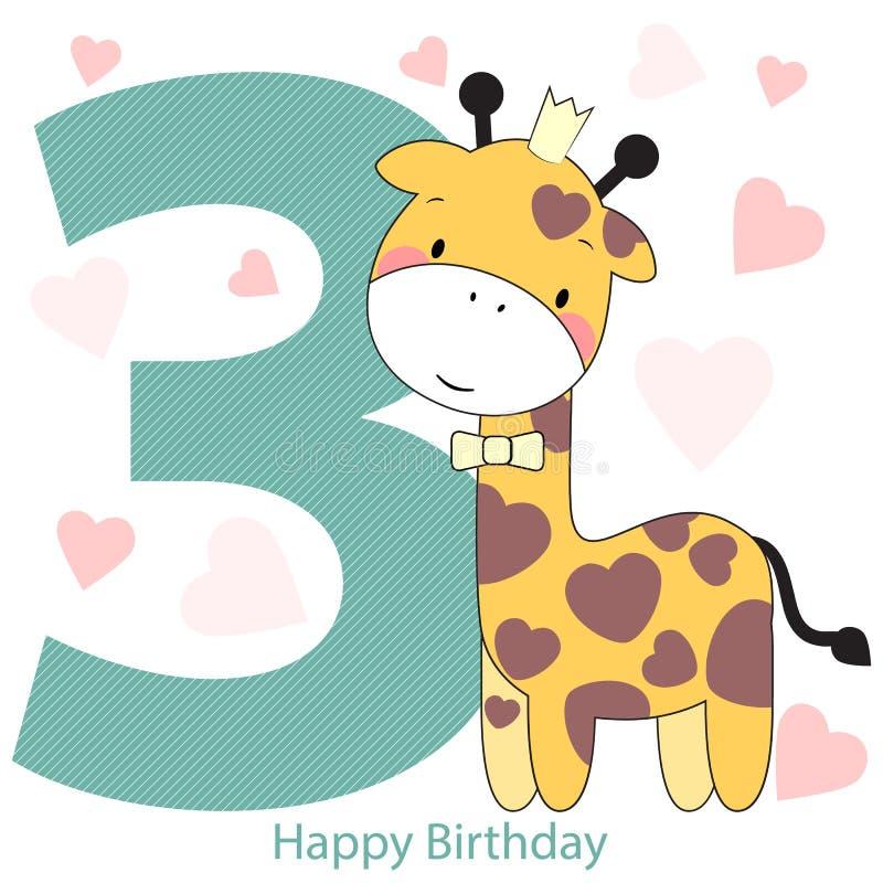 卡片在与长颈鹿的生日快乐 皇族释放例证