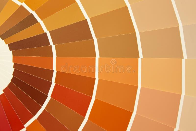 卡片在温暖的口气的色板显示 橙黄褐色 免版税库存图片