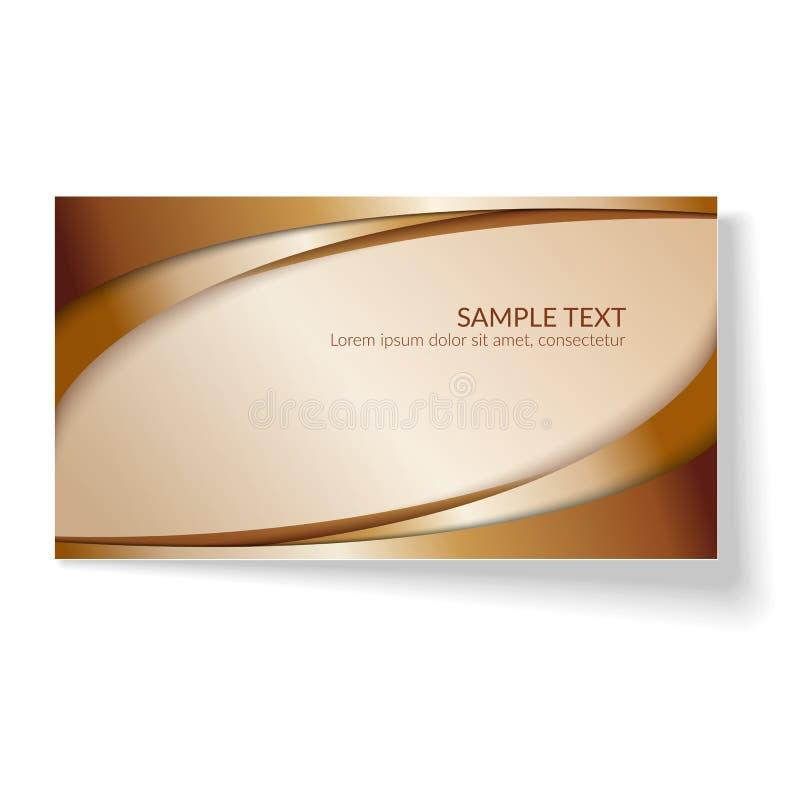 卡片摘要波浪线在一个轻的背景创造性的元素的金黄弯曲的线模板横幅海报设计的  皇族释放例证