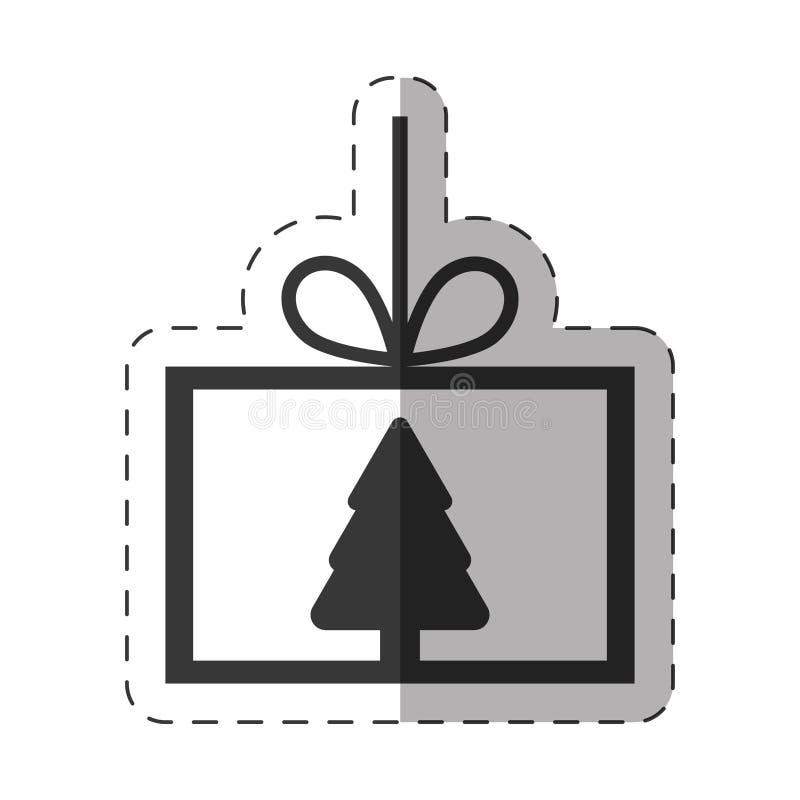 卡片树杉木圣诞节线 向量例证