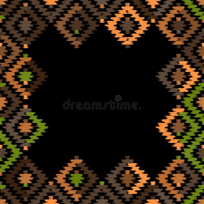 卡片横幅,样式土耳其地毯铜米黄橙色绿色黑色 补缀品马赛克东方人与传统伙计的kilim地毯 库存例证